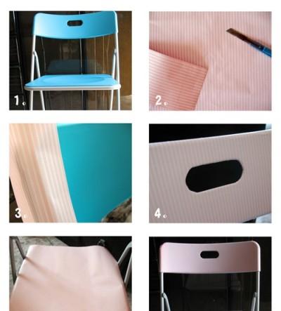 然后选好家具翻新贴纸,用裁纸刀按着椅子的需要面积裁好. 3.