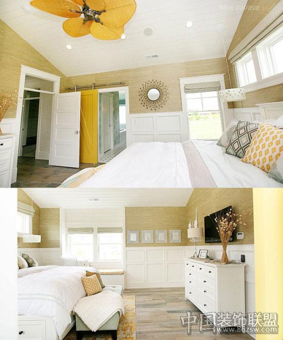 这是一个明亮的空间,除了格局很特别,色彩也起到非常大的作用。整洁的家具陈列,让房间看起来更加空旷和舒适,柔和的色彩里还具备一种独特的氛围。地板和墙壁的原木设计充满了天然感,再加上门柜的黄色与蓝色配搭,就显得宁静又有一股明亮的活泼感。