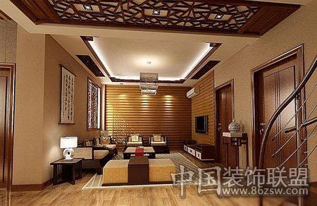 淡白色地毯边缘绣着回文图案,字画,镂空屏风,房间内处处体现着中式