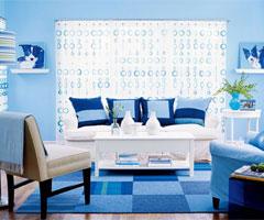 流行风格色彩 春夏客厅清凉变身