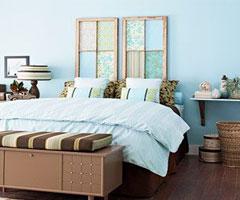 卧室风景 别致的板式床头背景墙