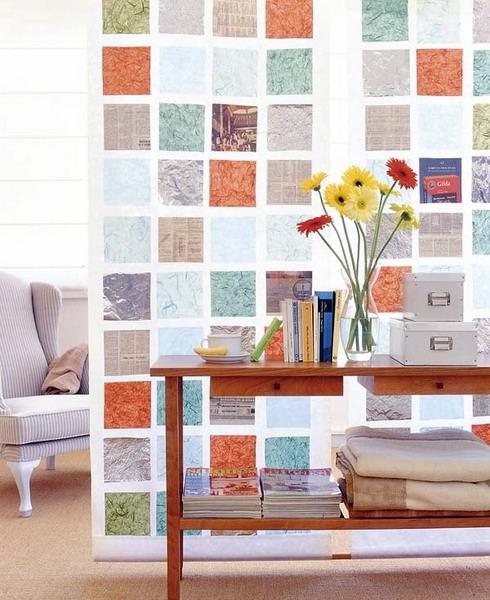 碎布与纺织品拼出的个性布墙设计
