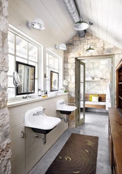体现自然时尚氛围的原石浴室设计