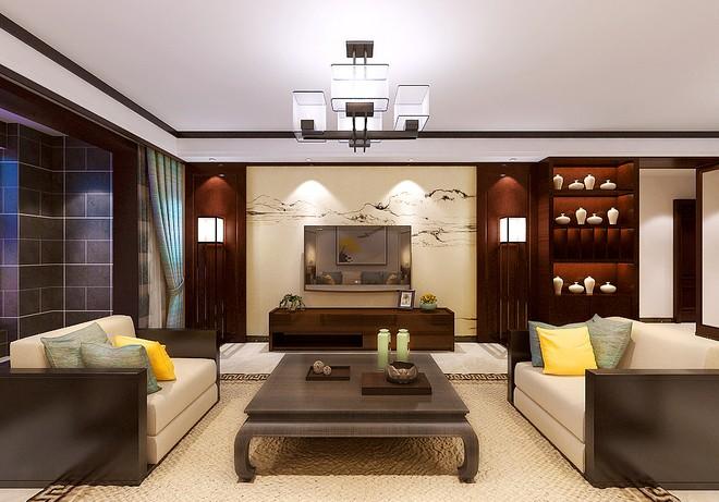 142平米新中式风格样板房案例欣赏高清图片