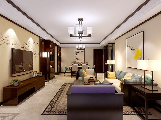 新中式风格客厅装修案例-142平米新中式风格样板房案例欣赏