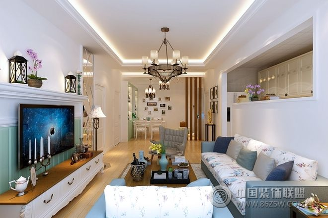 清新素雅 90平米浪漫田园风格设计案例