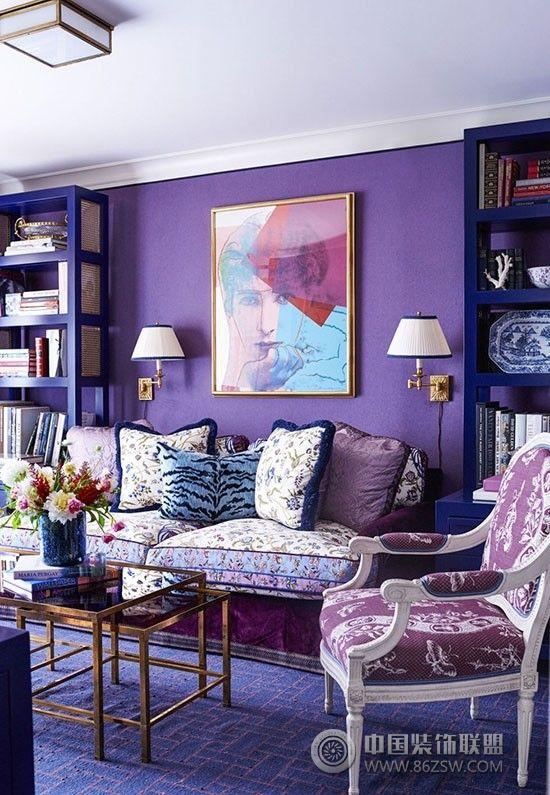 美上天!蓝色与紫色搭配出的奇幻家居