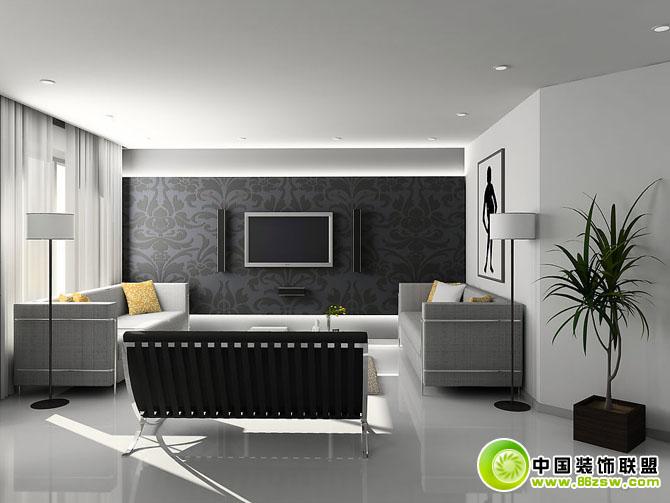 灰色经典客厅 整套大图展示 现代风格装修效果图 八六装饰