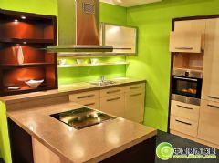 简洁漂亮的绿色厨房