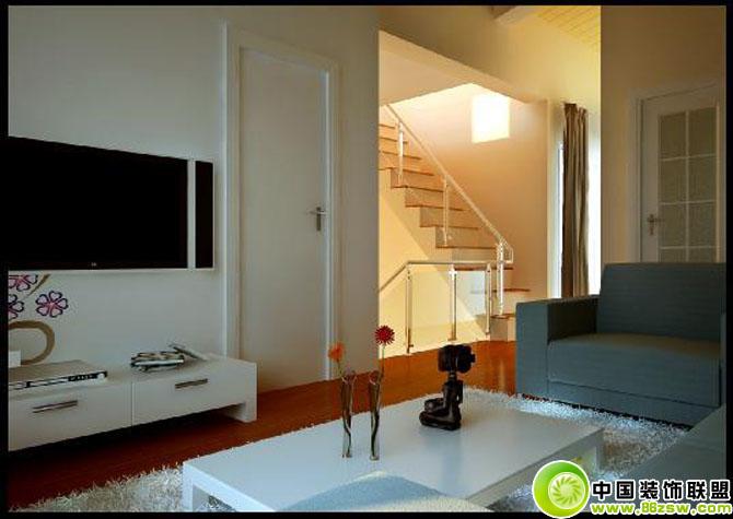 简易客厅带楼道 客厅装修效果图 八六装饰网装修效果图库