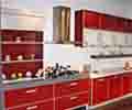 红色现代整体组合橱柜