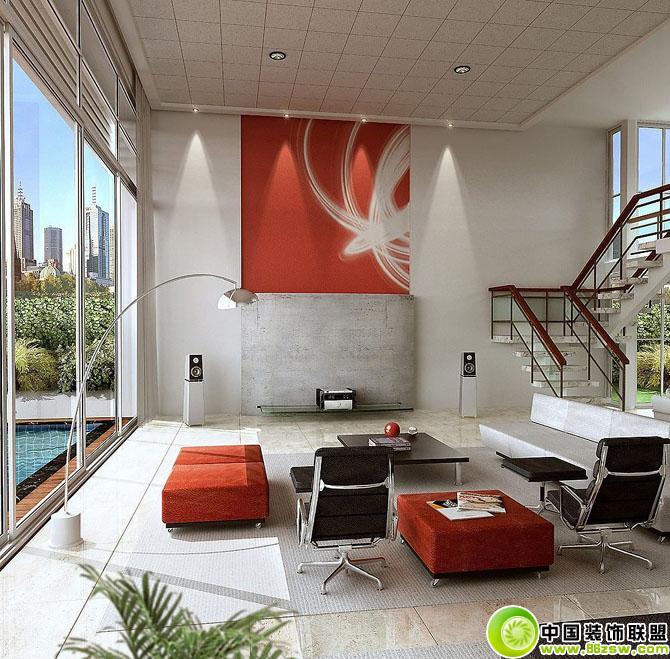 客厅楼梯设计 现代别墅装修效果图 八六 中国 装饰联盟装修效果图库 86zsw