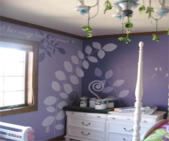 美丽花草手绘背景墙 扮靓儿童房色彩天空