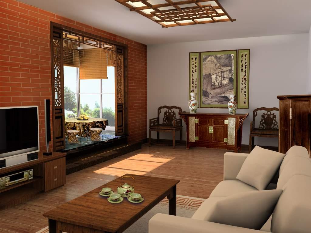 现代中式别墅装饰-客厅装修图片