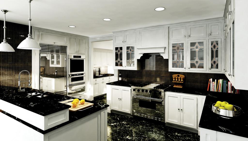 黑色经典高档橱柜-厨房装修图片