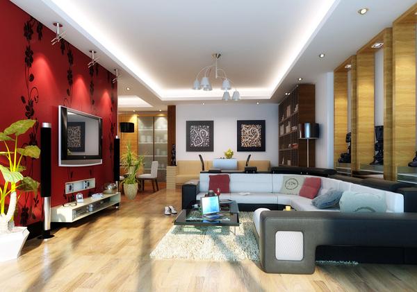 红底白墙-客厅装修效果图-八六(中国)装饰联盟装修