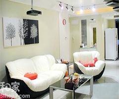简约复式 黑白红灰的绝色搭配 - 客厅