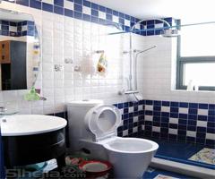 蓝色时尚居揉合中式元素 - 卫生间
