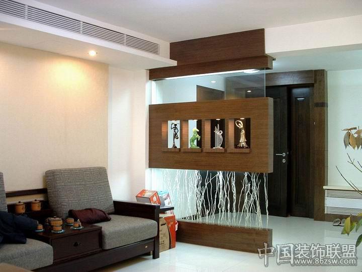 流行客厅玄关效果图中式客厅装修图片