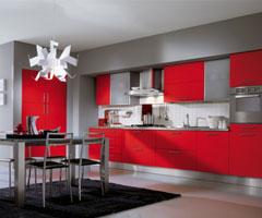 红色系厨房设计欣赏