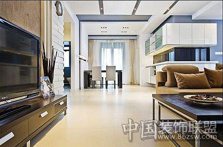 黑白色调 现代简约之家-客厅装修效果图-八六(中国)