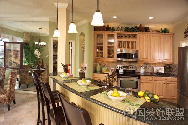 美式风格公寓样板房欧式厨房装修图片