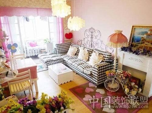 粉红色田园温馨小家-客厅装修效果图-八六(中国)装饰