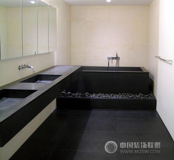 用黑色地板装个性居室-卫生间装修效果图-八六(中国)