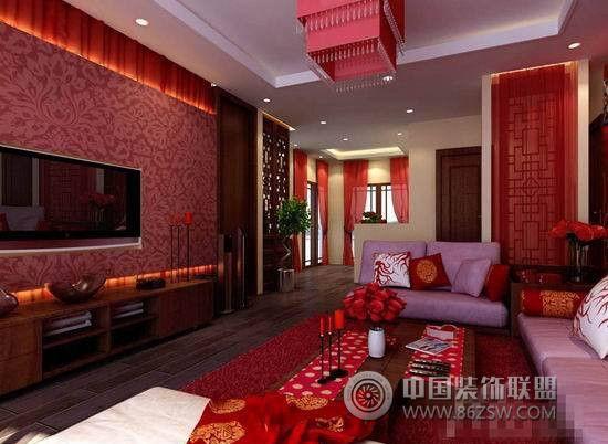 红色经典中式风格客厅设计-客厅装修图片