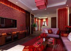 红色经典中式风格客厅设计
