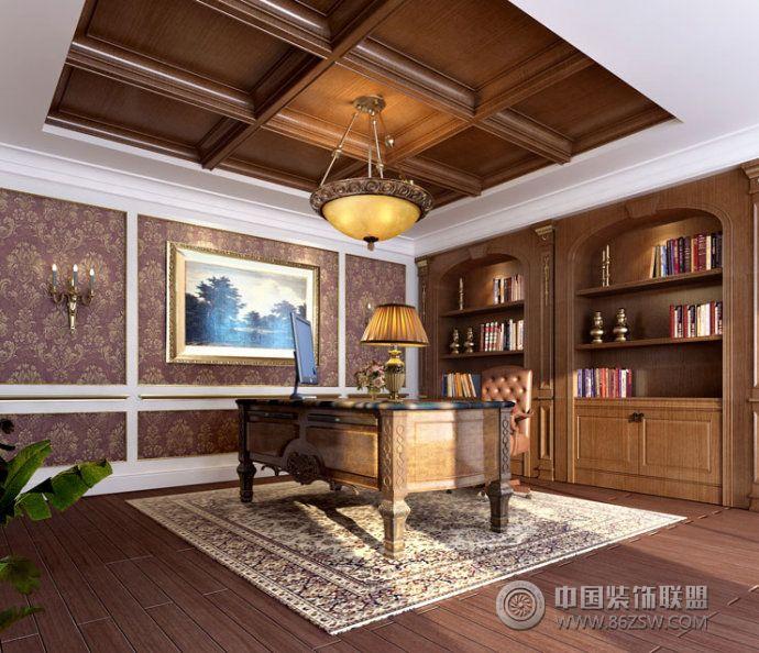 欧式气派简约风别墅设计欧式书房装修图片