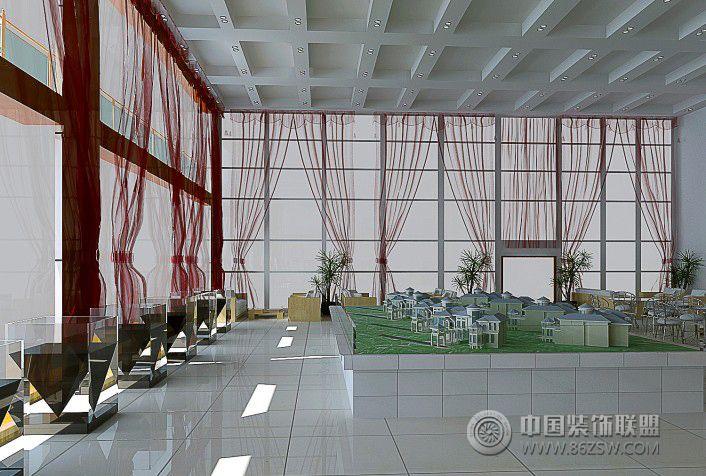 现代售楼中心大厅 单张展示 售楼处装修效果图高清图片