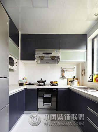 14w装105平米黑白搭配新居简约厨房装修图片