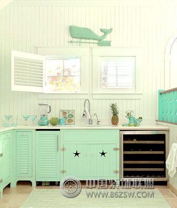 海洋风小别墅-厨房装修效果图-八六