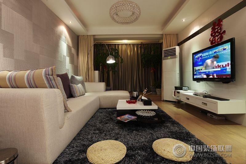 85平米两居新房完美装修-客厅装修效果图-八六装饰