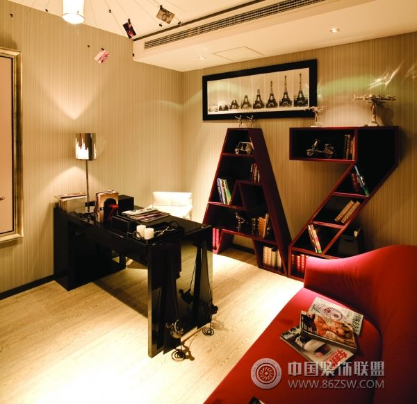 北京万科164平米豪华样板房欧式书房装修图片