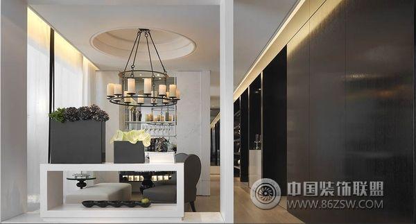 台湾经典黑白色调样板房书房装修图片
