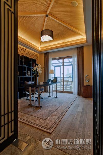 新中式范别墅样板房-书房装修图片