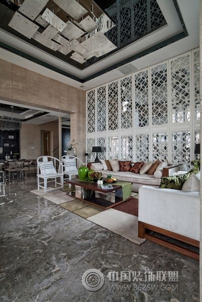 新中式范別墅樣板房-客廳裝修圖片