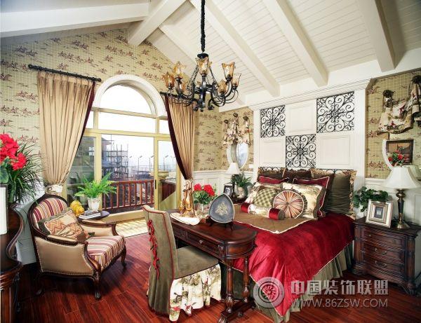 超奢華美式鄉村別墅-臥室裝修效果圖-八六(中國)裝飾