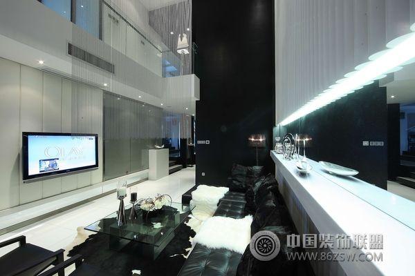 福州中城黑白灰的别墅经典设计-客厅装修图片