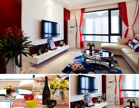 4万硬装90平米靓丽美居现代客厅装修图片