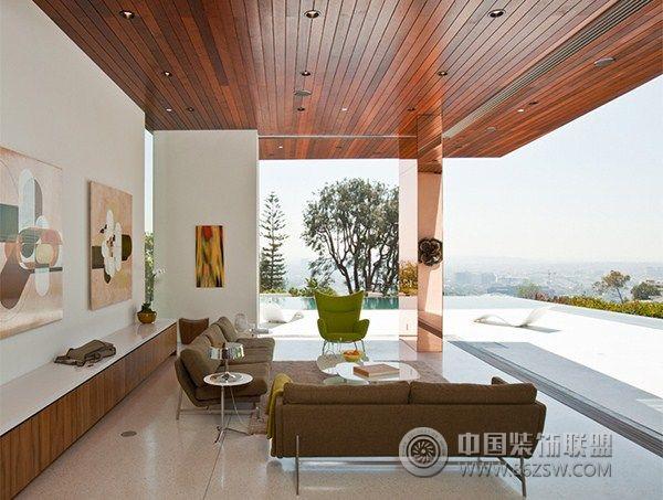 加州豪宅区的一幢别墅现代阳台装修图片