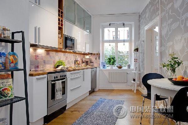 黑白灰三色搭配经典简约公寓简约厨房装修图片