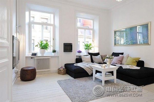瑞典簡約迷人的公寓客廳裝修圖片