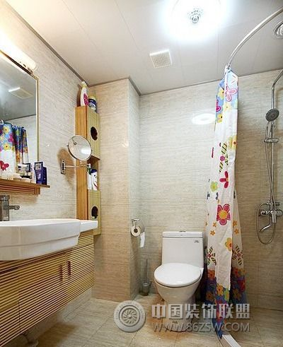 12万打造88平奶油色两室两厅-卫生间装修图片