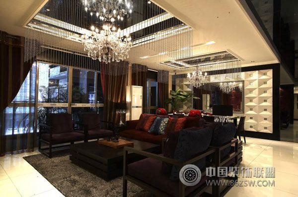 金泓凯旋城175平米中式样板房 客厅装修效果图 八六装饰网