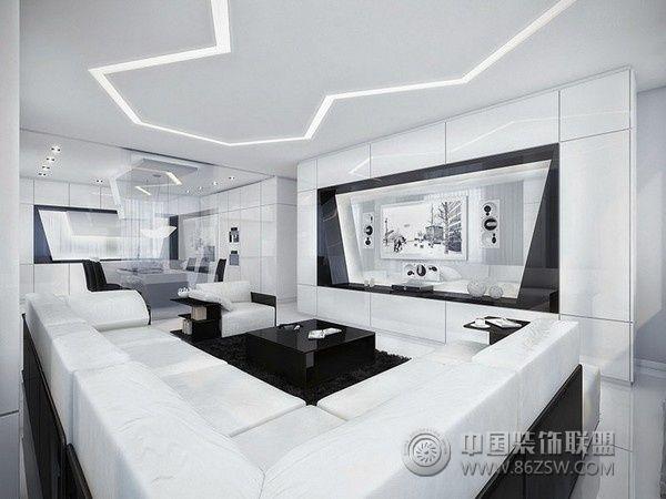 黑白色调的家居设计 现代风格装修效果图 八六装饰