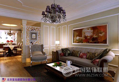 保利#8226林语104m2平层〔简欧〕欧式客厅装修图片