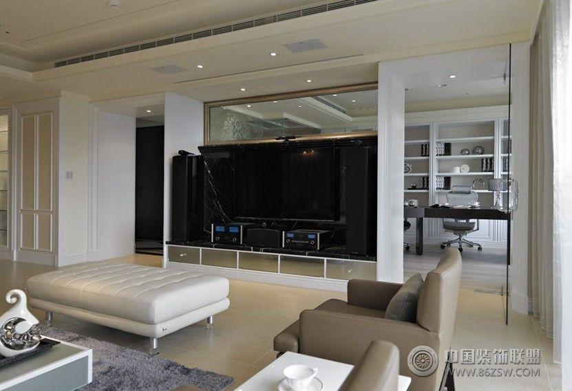 白色简欧现代理想空间简约客厅装修图片